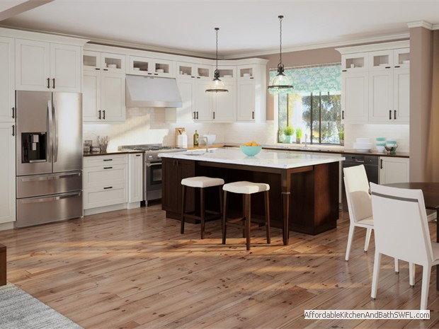 Kitchen Cabinets in Shaker Antique White