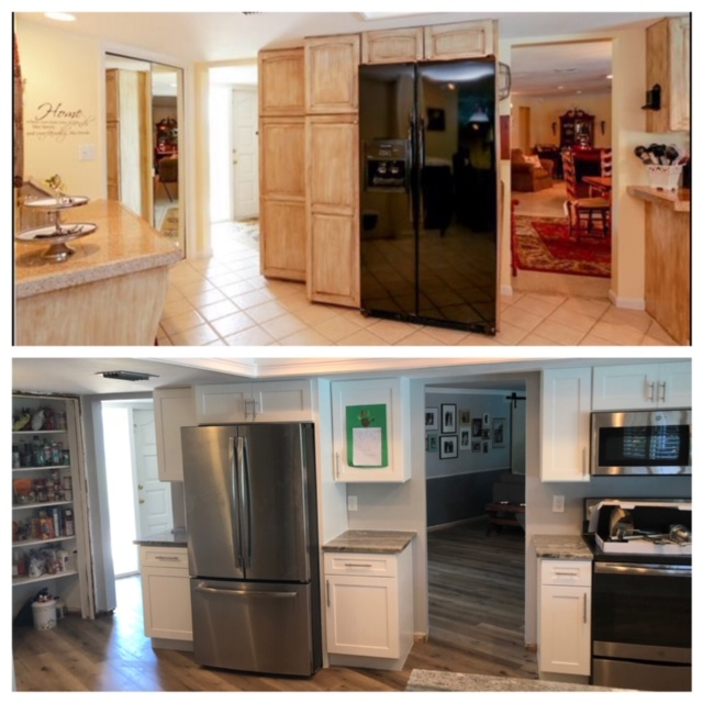 Shaker White Kitchen Cabinets Before and After